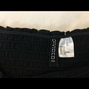 H&M Tops - Black smocked off the shoulder crop top